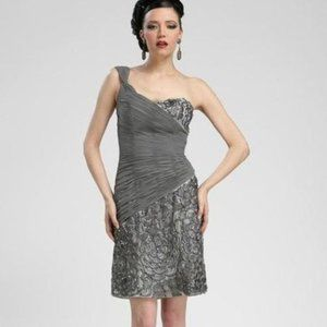 One Shoulder Sequined Sheath Dress by Sue Wong